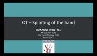 Splinting the hand - OT...